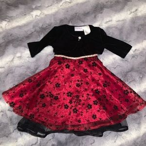 Blueberi Boulevard Black & red velvet dress